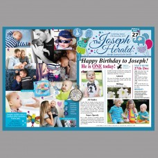 PERSONALISED (A3 Framed Print) - Baby Boy/Girl Birthday News Montage