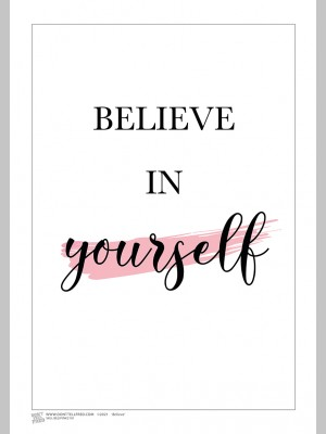 QUOTE (A3 Framed Print) - Believe - Pink - £25