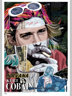 MUSIC (A3 Framed Print) - Kurt Cobain - £25