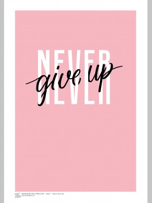 QUOTE (A3 Framed Print) - Never Give Up - £25