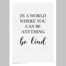 INSPIRATION (A3 Framed Print) - Be Kind - Grey