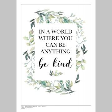 INSPIRATION (A3 Framed Print) - Be Kind - Leaves