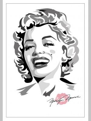 FILM (A3 Framed Print) - Marilyn Monroe - Black/White/Pink - £25